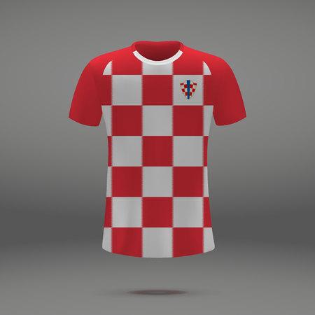 football kit of Croatia 2018, t-shirt template for soccer jersey. Vector illustration Stock Illustratie