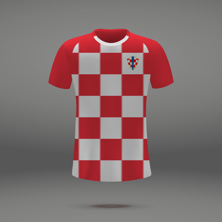 football kit of Croatia 2018, t-shirt template for soccer jersey. Vector illustration 矢量图像