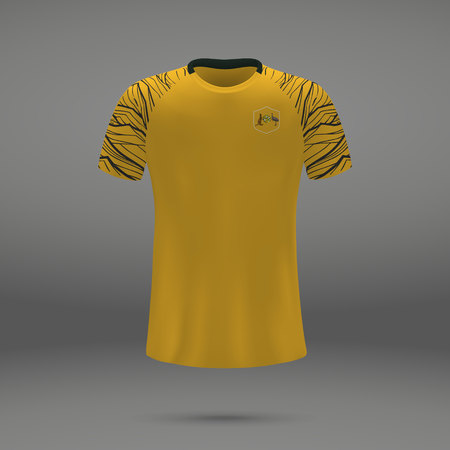 football kit of Australia, t-shirt template for soccer jersey. Vector illustration