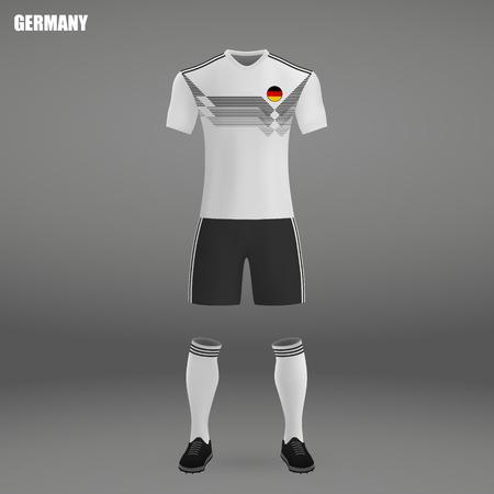football kit of Germany 2018, t-shirt template for soccer jersey. Vector illustration Иллюстрация