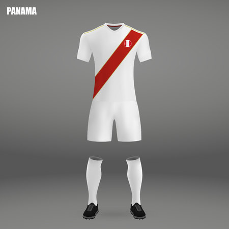 football kit of Peru 2018, t-shirt template for soccer jersey. Vector illustration