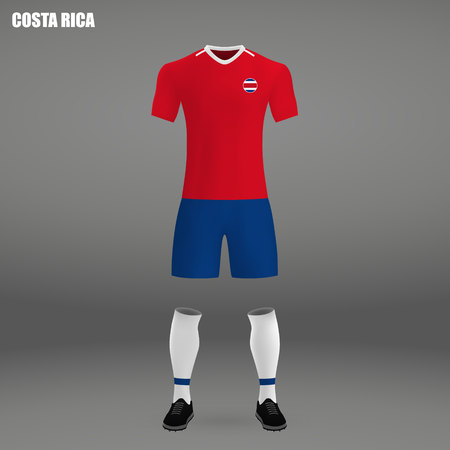 ca62443afee football kit of Costa Rica 2018, t-shirt template for soccer jersey. Vector