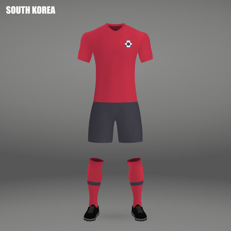 football kit of South Korea 2018, t-shirt template for soccer jersey. Vector illustration