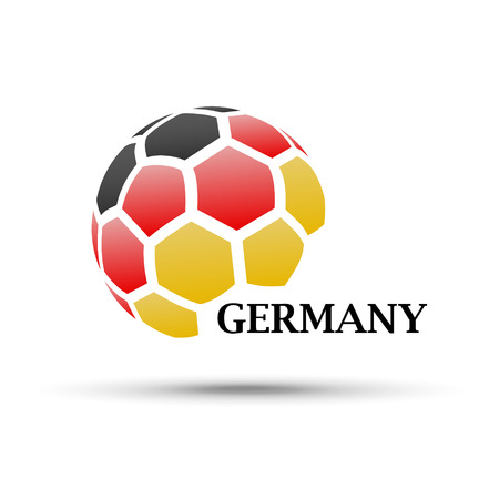 Football banner. Vector illustration of abstract soccer ball with Germany national flag colors