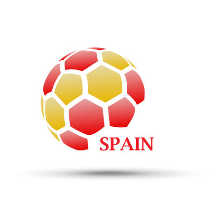 Football banner. Vector illustration of abstract soccer ball with Spain national flag colors Vettoriali