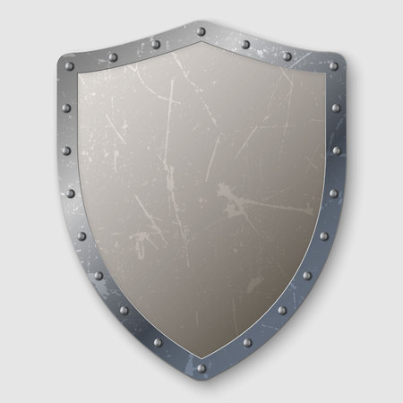 realistic aged metal shield isolated