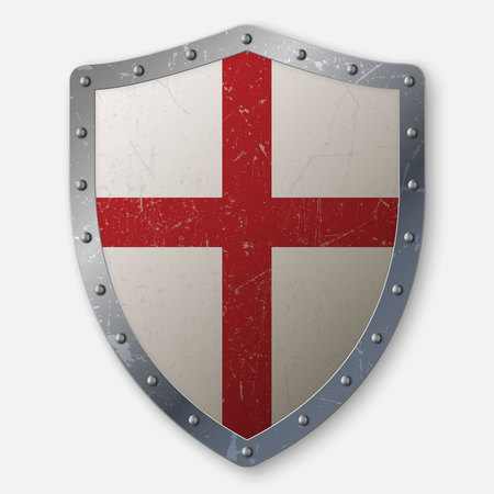 realistic aged crusaders shield isolated