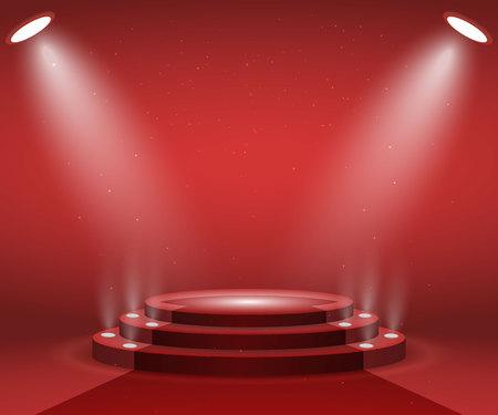 授賞式のライト付きステージ。レッドカーペットで照らされたラウンド表彰台。台座。
