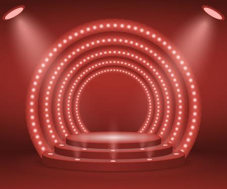 Scena ze światłami na ceremonię wręczenia nagród. Oświetlone okrągłe podium. Piedestał.