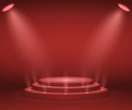 Stage with lights for awards ceremony. Illuminated Round Podium. Pedestal. Foto de archivo - 102495391