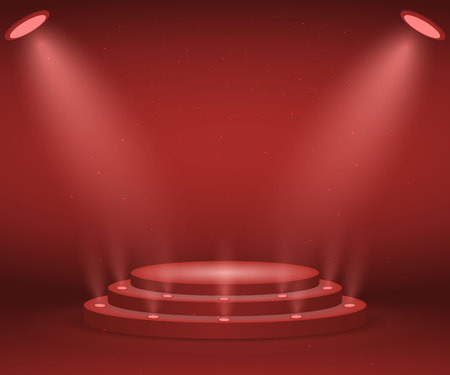 Stage with lights for awards ceremony. Illuminated Round Podium. Pedestal.  Illustration