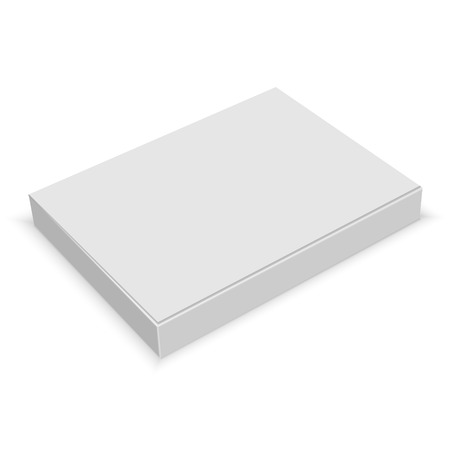 Realistic white blank box for design on white background. Vector illustration