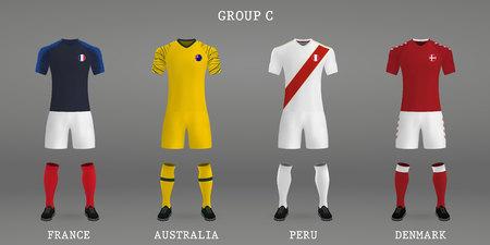 Satz Fußballausrüstung, Hemdschablone für Fußballtrikot. Vektorillustration