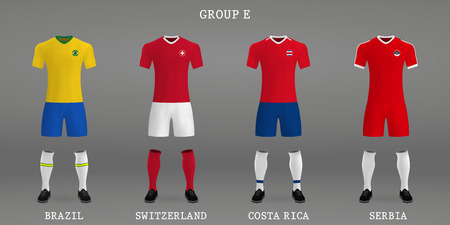 Set of football kit, shirt template for soccer jersey. Vector illustration