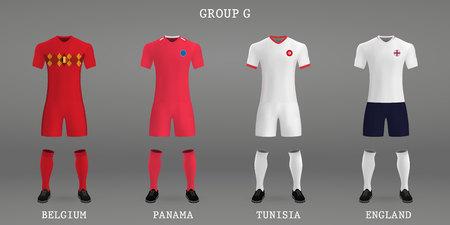 Set of football kit, shirt template for soccer jersey. Vector illustration