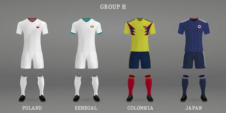サッカーキットのセット、サッカージャージ用シャツテンプレート。ベクトルの図