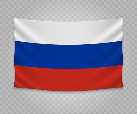 Realistic hanging flag of Russia. Empty  fabric banner illustration design. 向量圖像