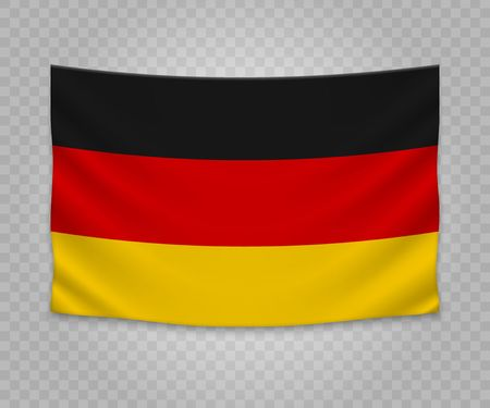Realistic hanging flag of Germany. Empty  fabric banner illustration design.