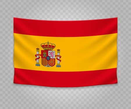 Realistic hanging flag of Spain. Empty  fabric banner illustration design.