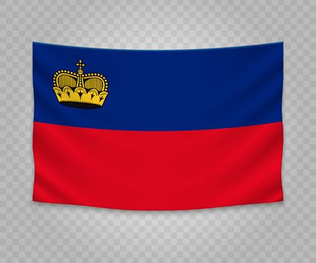 Realistic hanging flag of Liechtenstein. Empty  fabric banner illustration design.