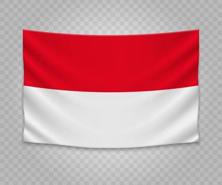 Realistic hanging flag of Monaco. Empty  fabric banner illustration design.
