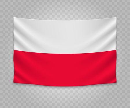Realistic hanging flag of Poland. Empty  fabric banner illustration design.