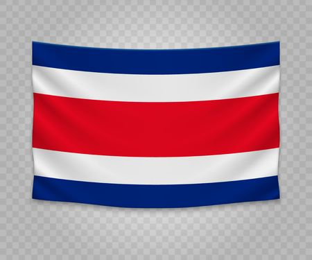 Realistic hanging flag of Costa Rica. Empty  fabric banner illustration design.