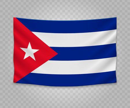 Realistic hanging flag of Cuba. Empty fabric banner illustration design.