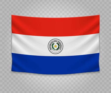 Realistic hanging flag of Paraguay. Empty fabric banner illustration design.