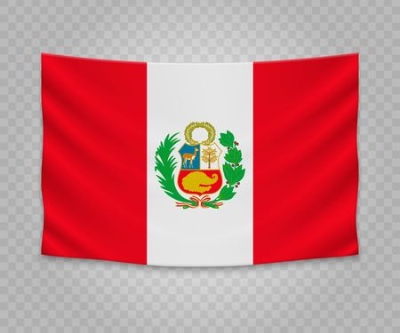 Realistic hanging flag of Peru. Empty  fabric banner illustration design.
