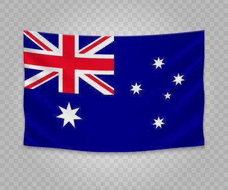 Realistic hanging flag of Australia. Empty  fabric banner illustration design.