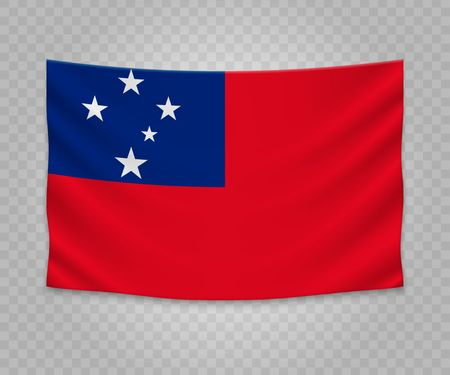 Realistic hanging flag of Samoa. Empty  fabric banner illustration design. Illustration