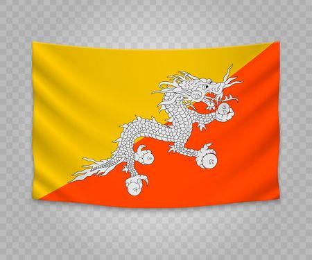 Realistic hanging flag of Bhutan. Empty  fabric banner illustration design.