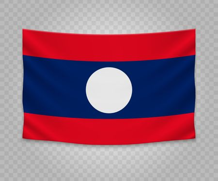 Realistic hanging flag of Laos. Empty  fabric banner illustration design.