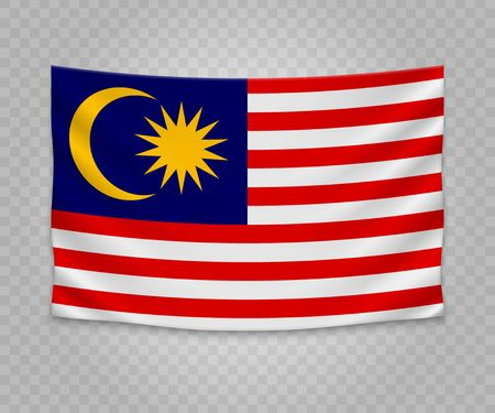 Realistic hanging flag of Malaysia. Empty  fabric banner illustration design.
