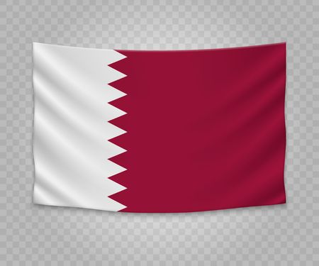 Realistic hanging flag of Qatar. Empty  fabric banner illustration design. 向量圖像