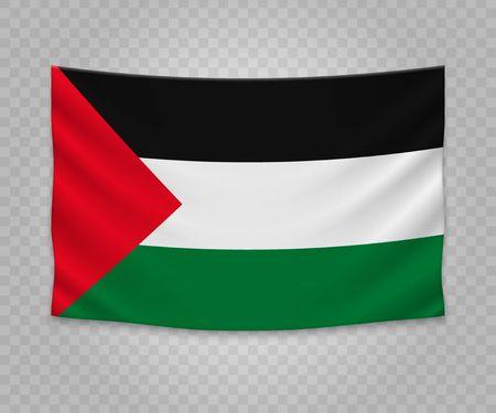 Realistic hanging flag of Palestine. Empty  fabric banner illustration design.