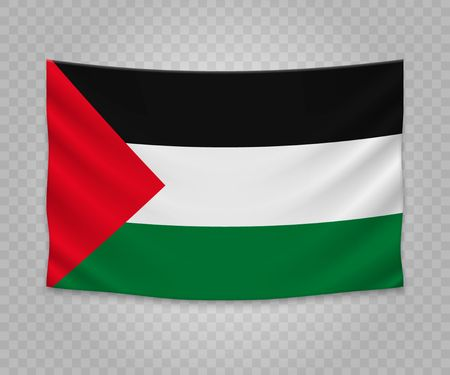 Realistic hanging flag of Palestine. Empty  fabric banner illustration design.