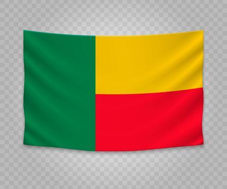 Realistic hanging flag of Benin. Empty fabric banner illustration design.