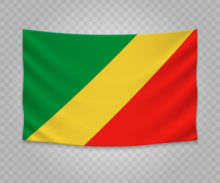 Realistic hanging flag of Republic of the Congo. Empty fabric banner illustration design.