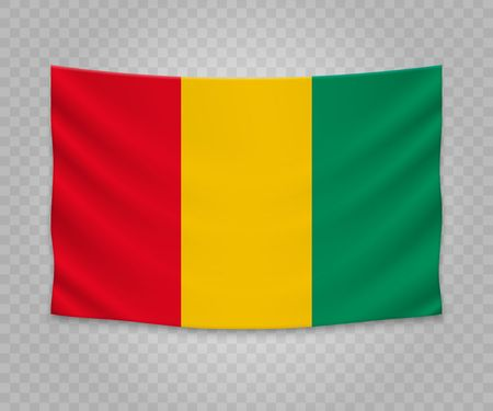 Realistic hanging flag of Guinea. Empty  fabric banner illustration design. 向量圖像