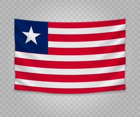 Realistic hanging flag of Liberia. Empty  fabric banner illustration design.