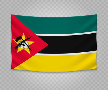 Realistic hanging flag of Mozambique. Empty fabric banner illustration design.