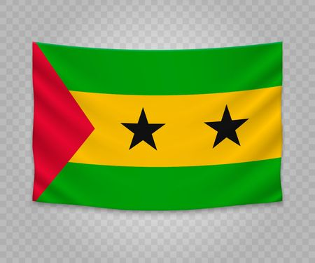 Realistic hanging flag of Sao Tome and Principe. Empty  fabric banner illustration design.