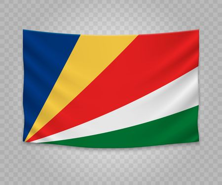Realistic hanging flag of Seychelles. Empty  fabric banner illustration design.