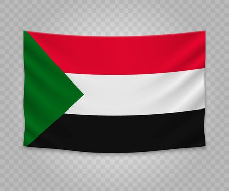 Realistic hanging flag of Sudan. Empty  fabric banner illustration design.