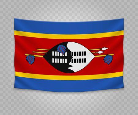 Realistic hanging flag of Swaziland. Empty  fabric banner illustration design.
