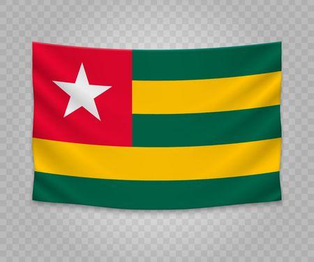 Realistic hanging flag of Togo. Empty  fabric banner illustration design.