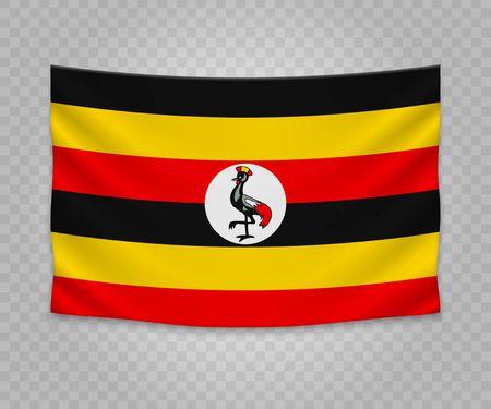 Realistic hanging flag of Uganda. Empty  fabric banner illustration design.