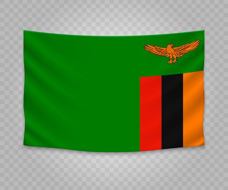 Realistic hanging flag of Zambia. Empty fabric banner illustration design.